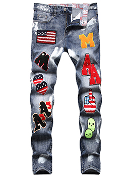 Stylish Fitted Patchwork Pattern Denim Jeans For Men