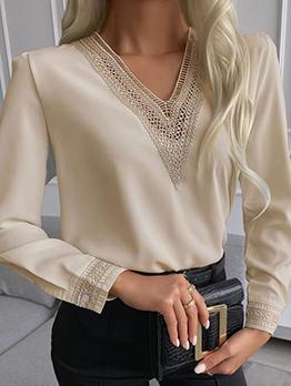 Fashion Patchwork Lace Detail Long Sleeve Blouse