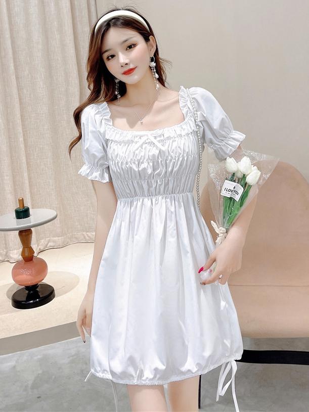 Vintage Solid Puff Sleeve Pleated Dress