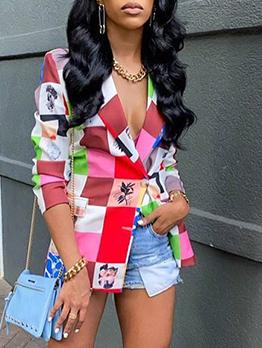 Fashion Grid Contrast Color Long Sleeve Blazer