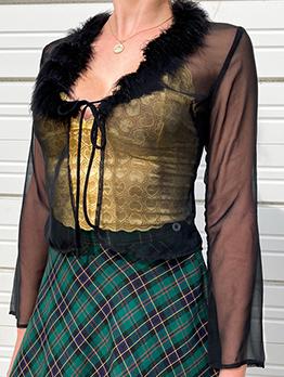 Transparent Black Fur Patchwork Tie Wrap Cardigan