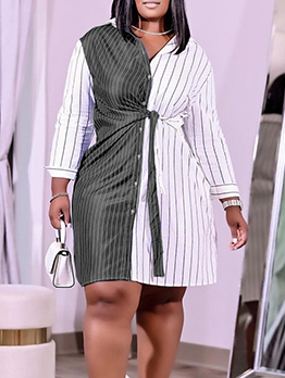 Plus Size Striped Long Sleeve Shirt Dress