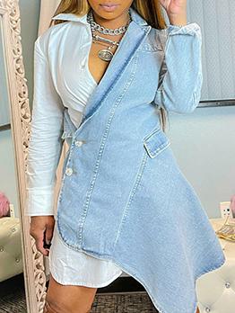 Fashion Designer Patchwork Long Sleeve Dress