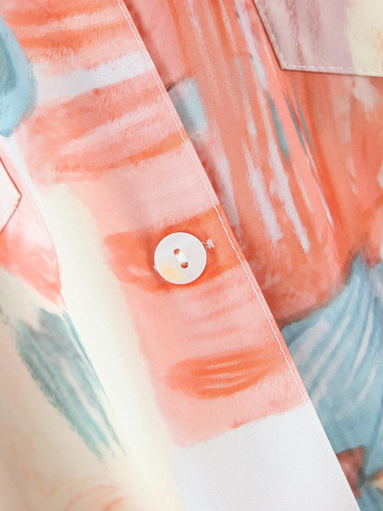 Youthful Korean Printed Long Sleeve Loose Pocket Blouse