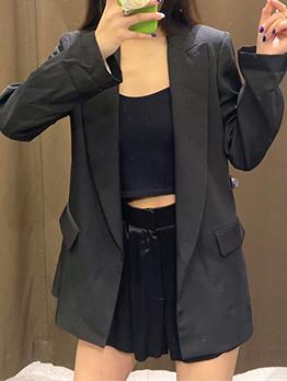 OL Style Black Long Sleeve Blazer For Women