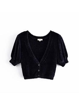 Plain Solid Versatile Short Sleeve Cardigan Sweater