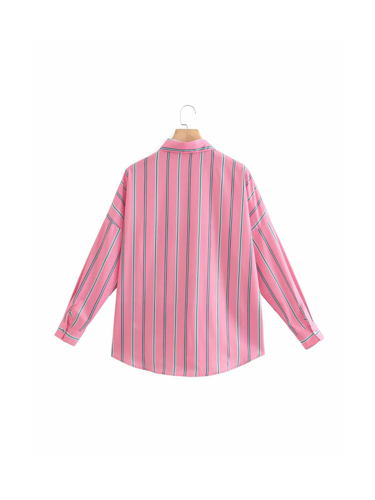 Casual Pink Pocket Striped Long Sleeve Blouse
