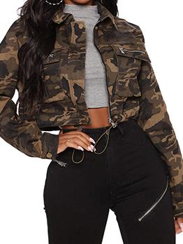 Fashion Camouflage Long Sleeve Short Coat
