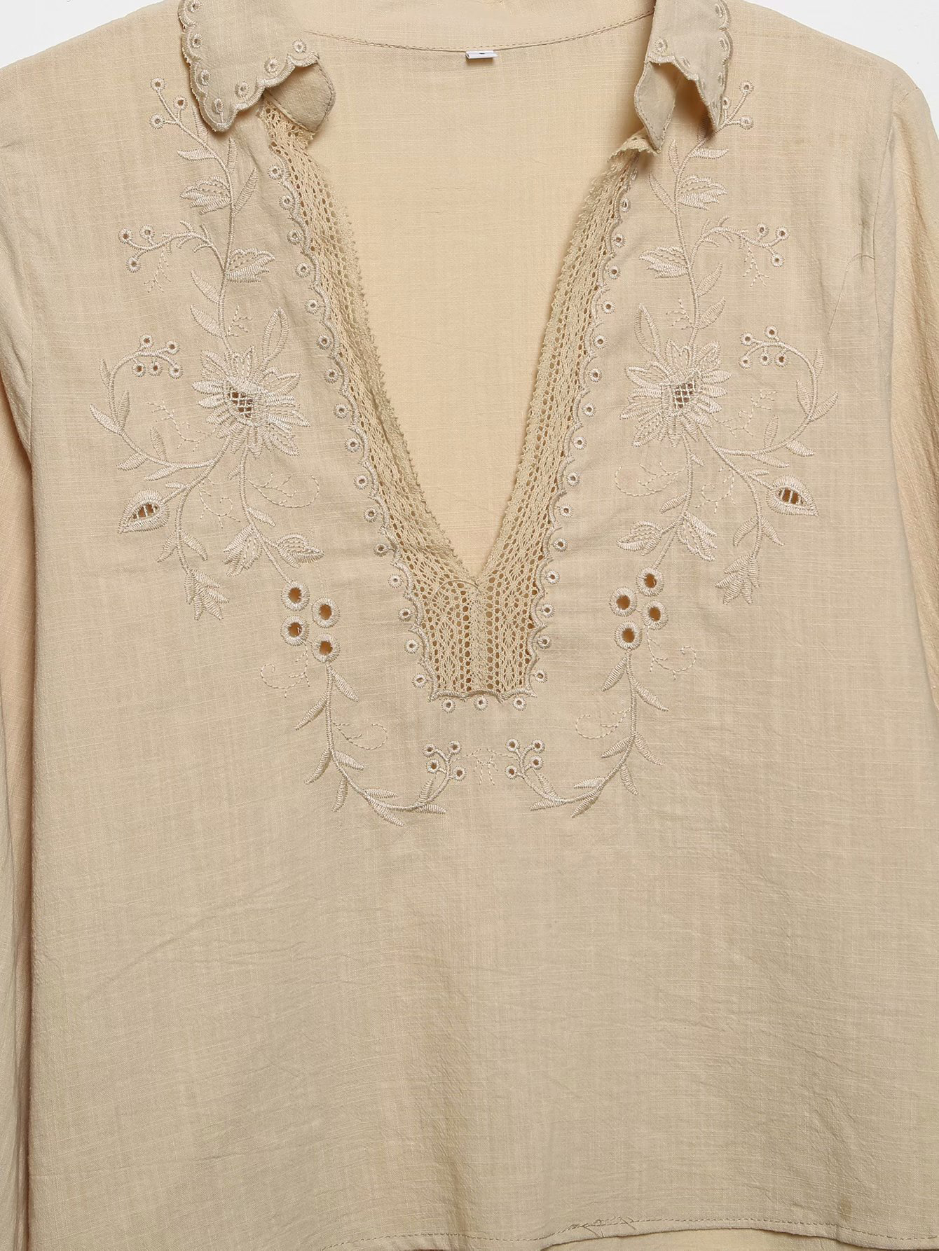 Casual Embroidery V Neck Tatting Long Sleeve Blouse