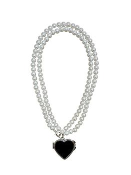 Street Heart Pendant Faux Pearl Mini Mirror