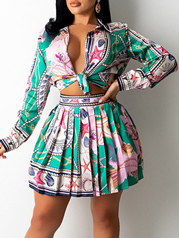 New Long Sleeve Print Blouse With Skirt Sets