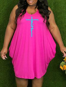 Summer Print Plus Size Sleeveless Dress