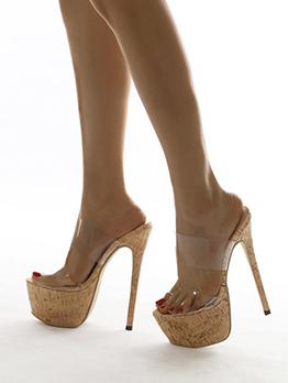 Sexy Patch Transparent Platform Womens Slippers