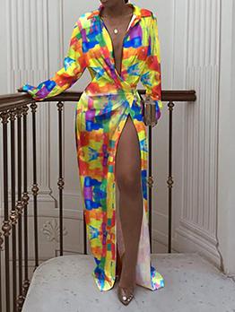 Chic Tie Dye Turndown Collar Long Sleeve Maxi Dress