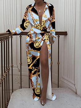 Individual Chain Print Sexy Floor Length Dress