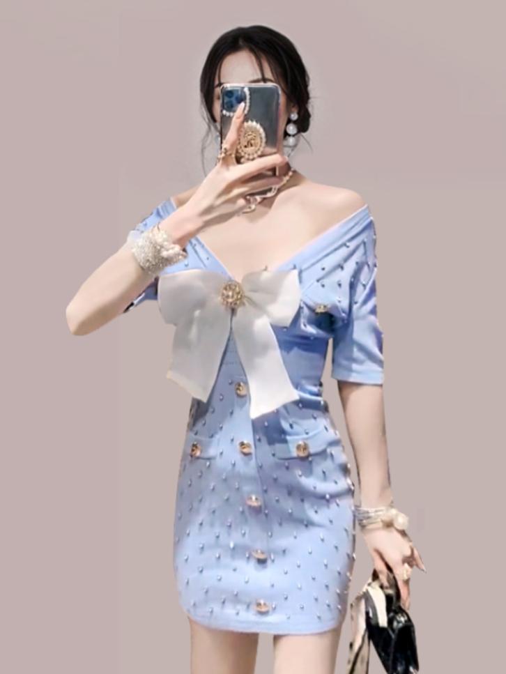 Elegant Bow Studded Knitting Short Sleeve Dress