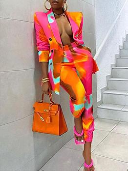 Street Snap Vogue Printing High Waist Women Suits