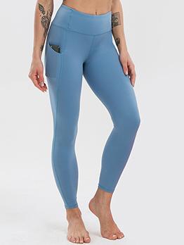 Sporty Pocket Elastic Fly High Waist Ninth Pant