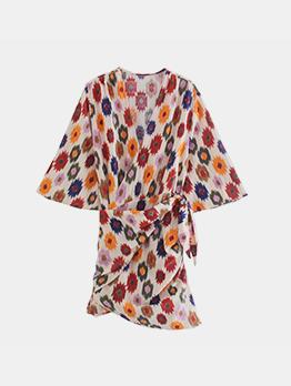 Summer Printed V Neck Tie Wrap Short Sleeve Dress