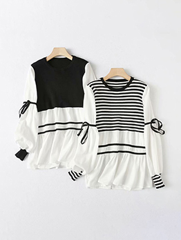 Fashion Loose Striped Contrast Color Long Sleeve Blouse