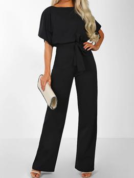 Fashion Solid Business Women Short Sleeve Jumpsuit