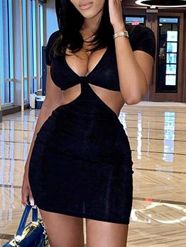 Sexy V Neck Nightclub Short Sleeve Sheath Dresses