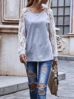 Lace Long Sleeve Casual Autumn Sweatshirt