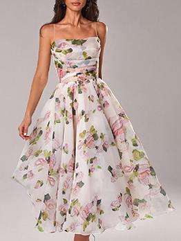 Summer Print Sleeveless Casual Maxi Dress