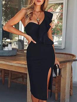 Inclined Shoulder Black Ruffle Midi Dress