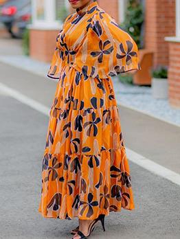 Elegant Loose Mock Neck Plus Size Maxi Dress
