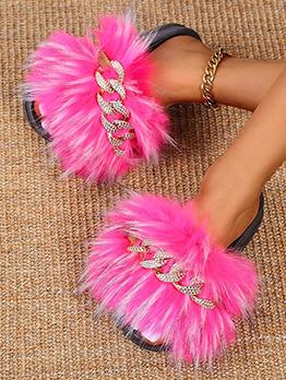 Casual Fur Chain Patchwork Slide Slipper For Women