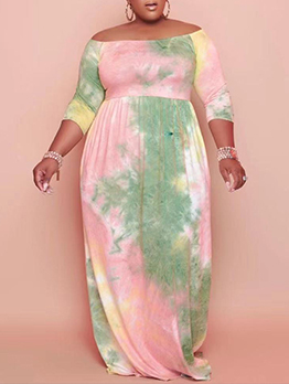 Tie Dye Print Stylish Casual Plus Size Maxi Dress