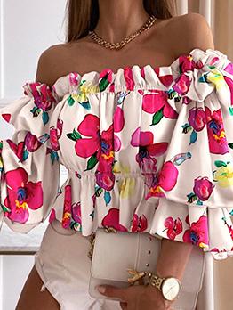 Sweet Flower Print Off Shoulder Pleated Blouse