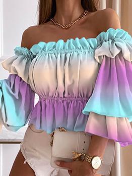 Adorable Gradient Color Striped Off Shoulder Blouse