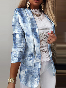 Fashion Blue Tie Dye Lapel Short Coat