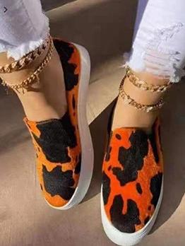Casual Unisex Leopard Slip On Sneakers