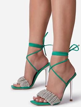 Club Summer Rhinestone Lace-Up High Heeled Sandals
