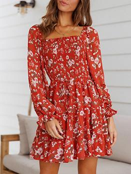 Vintage Square Neck Print Autumn Dresses