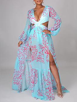 Spring Autumn V Neck Plus Size Long Sleeve Maxi Dress