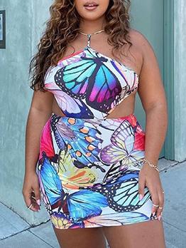 Summer Backless Plus Size Mini Dress