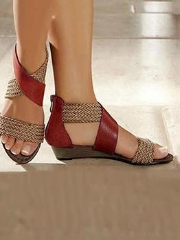 Vintage Contrast Color Weaving Ladies Sandal