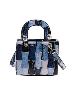 Fashion Contrast Color Chain Shoulder Tote Bag