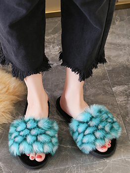 New Contrast Color Faux Fur Womens Slippers