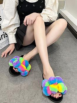 Cute Contrast Color House Shoes For Women
