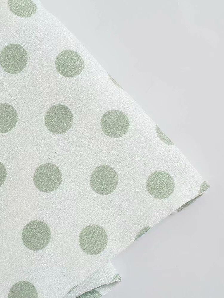 Chic Summer Dot Patchwork Tie Wrap Blouse
