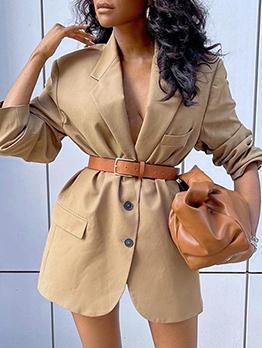 Pure Long Sleeve Casual Blazer Women