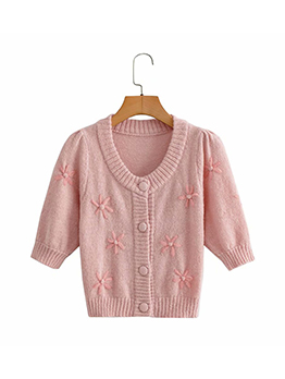 Autumn Flower Half Sleeve Cardigan Sweater