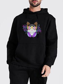 Korean Style Long Sleeve Cat Print Hoodie