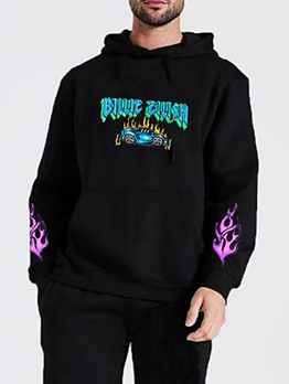 Loose Contrast Color Letter Pullover Hoodie