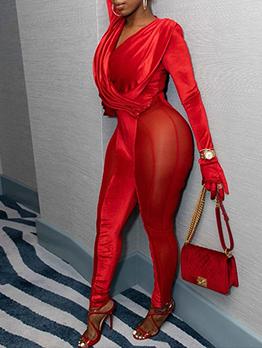 Sexy Gauze Patch Velvet Long Jumpsuit